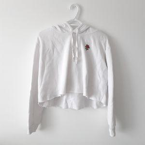 H&M White Raw Hem Cropped Sweater Hoodie